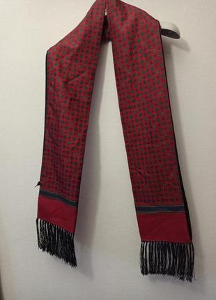 Шикарный мужской шарф кашне двухсторонний шерсть , шелк, италия atelier f & b