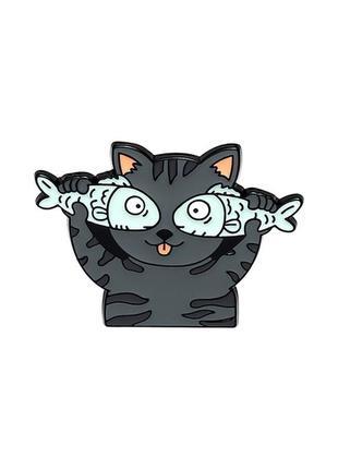 Брошь-значок с эмалью кот с рыбками brgv111511