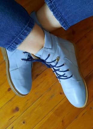 Черевики ботинки голубой кожа