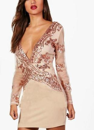 Роскошное платье в пайетки boohoo