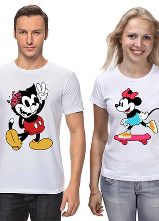 """Парные футболки с принтом """"кот и мышка"""" push it"""