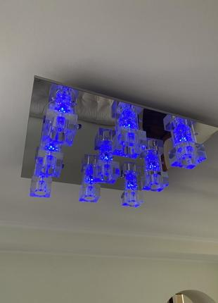 Люстра зеркало на 9 плафонов кубик диодная