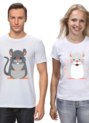 """Парные футболки с принтом """"мышки"""" push it"""