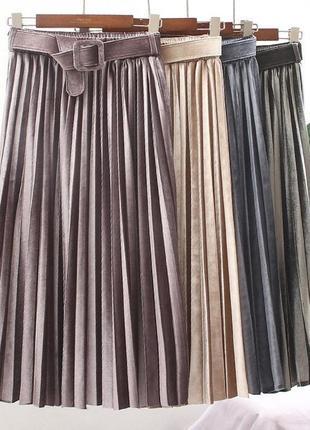 Велюровая юбка миди dilvin