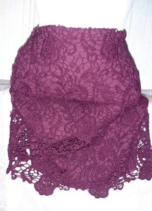 Мини юбка кружево бордо винный цвет