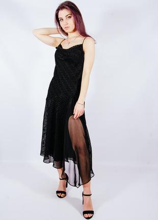 Винтажное черное платье с разрезом, черное платье на тонких бретелях, чорна сукня міді