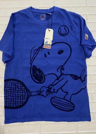 Синяя oversized-футболка унисекс с принтом levi's x peanuts