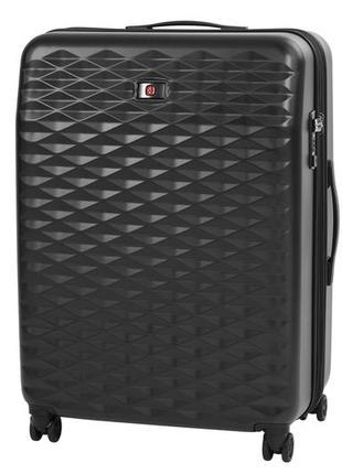 Большой черный пластиковый 4-х колёсный чемодан wenger