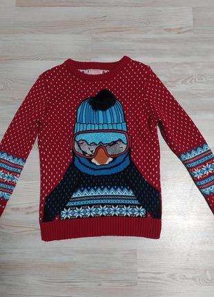 Новогодняя рождественская кофта свитшот от george на 7-8лет