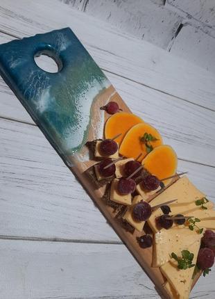 Эко посуда сервировка стола сырная нарезка доска деоево стиль лофт смола