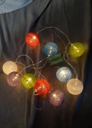Гирлянда новогодняя на батарейках шары