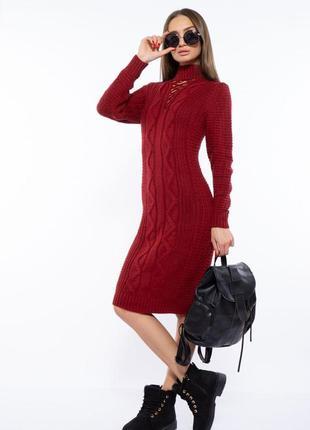 Платье вязаное 120przgr767-1 бордовый