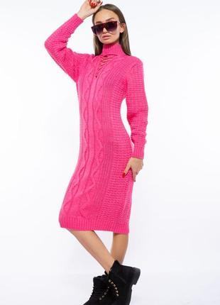 Платье вязаное 120przgr767-1 розовый