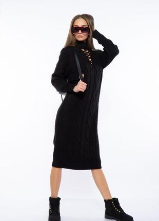 Платье вязаное 120przgr767-1 черный