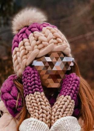 Очень теплая шапка снуд варежки набор из шерсти мериноса крупной вязки хельсинки