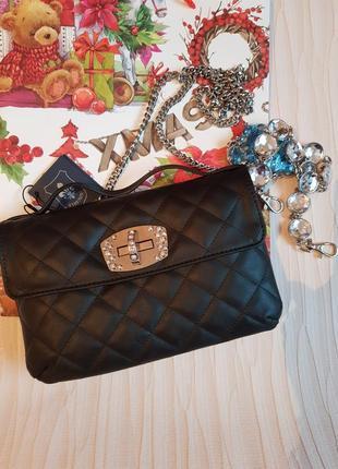 Красивый кожаный женский клатч сумочка с двумя цепочками италия