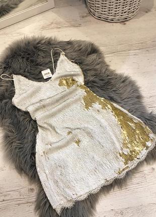 Новогоднее платье в паетках. новорічна сукня в паєтках золота