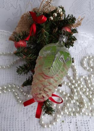 Шишка елочная игрушка ссср стекло в холодной эмали редкая советская винтаж шишечка