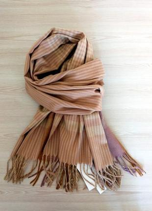Шерстяной шарф из шерсти кролика клетка полоска бежевый