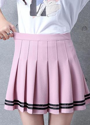 Юбка в складку розовая2 фото