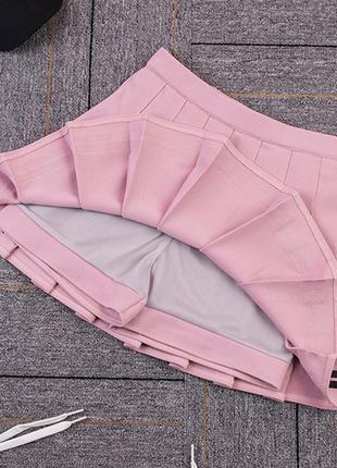 Юбка в складку розовая3 фото