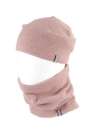 Теплая шапка с хомутом на флисе 50% шерсть 50% акрил унисекс