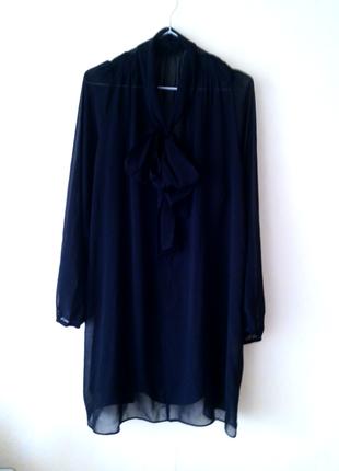 Черное шифоновое платье со стречевой подкладкой 18-20 uk atmosphere