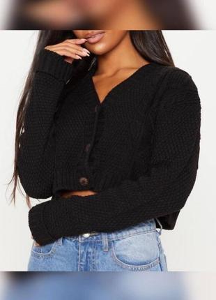 Вкорочений в'язаний оверсайз светр