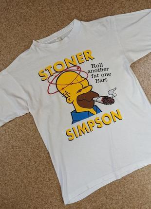 Винтажная футболка мерч stoner simpson (the simpsons, симпсоны)