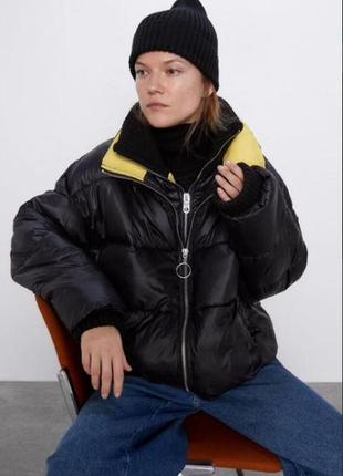 Куртка зимняя пуховик бомбер zara размер s m
