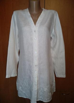 Роскошная льняная туника, халат лён пог 50 см