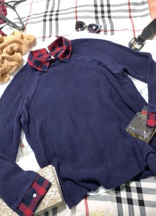 Оверсайз свитер крупной вязки с имитацией рубашки