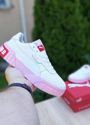 Женские кроссовки  cali {белые с розовым}#puma