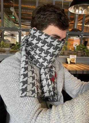Мужской шарф в лапку