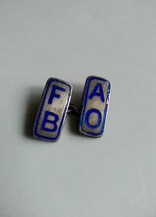 Ao fb bm. серебряная запонка с эмалью. одна 1.8х0.4