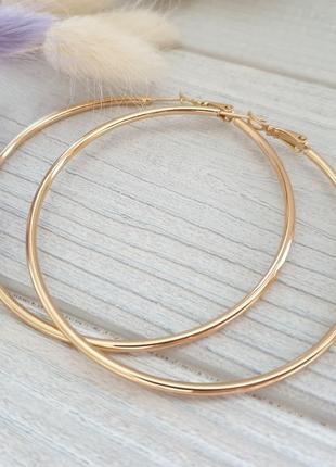 Серьги кольца 6 см xuping. позолота 18к, круглые серёжки. медицинское золото