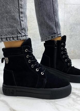 Ботинки ferrari, зима, натуральная замша, набивная шерсть