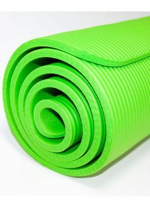 Коврик для йоги и фитнеса profi yoga mat 183x61cm 10mm nbr зеленый