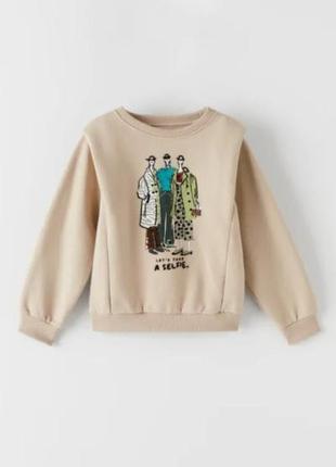 Трендовый модный  свитшот  свитер кофта  на флисе для девочки zara (испания)