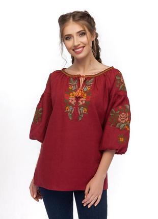 Блуза жіноча чарівниця (льон бордовий)