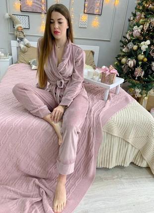 Бархатний костюм для дому, плюшева піжамка