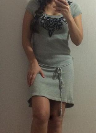 Женское зимнее шерстяное теплое платье promod