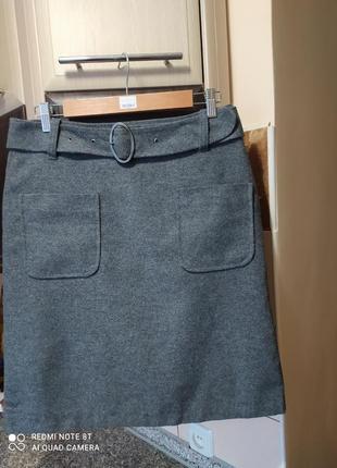 Юбка трапеция,  с карманами и поясом, на подкладке