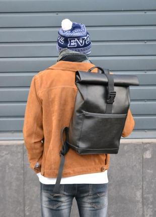 Кожаный рюкзак роллтоп ролтоп экокожа мужской женский rolltop
