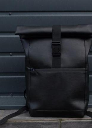Крепкий кожаный рюкзак женский мужской роллтоп ролтоп экокожа rolltop