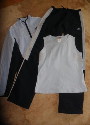 Спортивный костюм комплект тройка adidas олимпийка штаны майка для высокой барышни