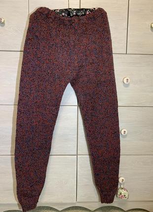 Толстенькие вязаные шерстяные штаны на резинке тёплые домашние лосины