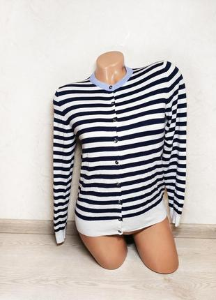 Кофта полосатая кардиган на пуговицах свитер реглан джемпер