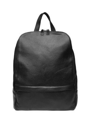 Кожаный стильный городской женский рюкзак,чёрный праатичный рюкзак, сумка рюкзак