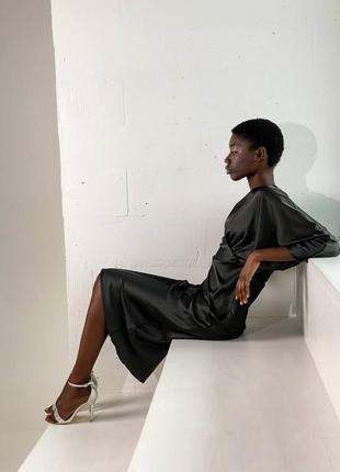 Миди платье на выход из шелка армани черное